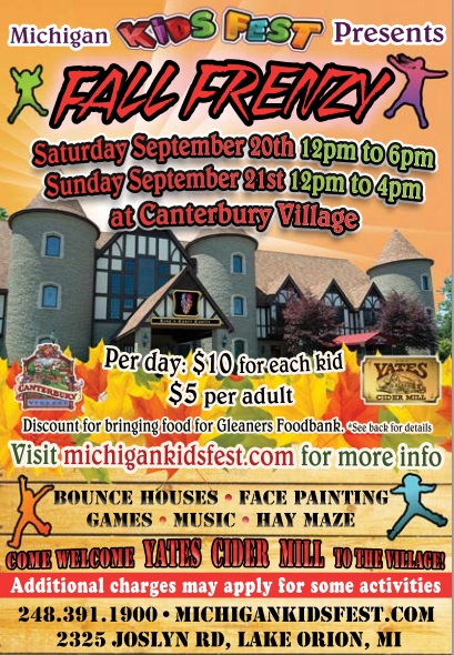 September 20-21st: Michigan Kids Fest Presents FALL FRENZY